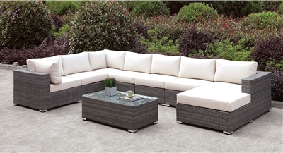 Somani Large Wicker Patio Patio Sectional Available in Grey or White by Furniture of America