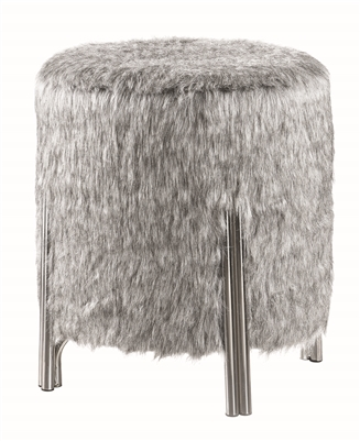 Soft gray faux fur fabric upholstered ottoman with chrome finished legs