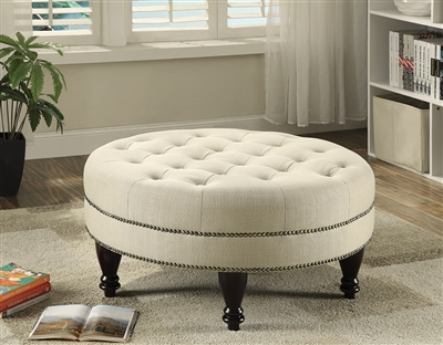Cream Color Linen Tufted Ottoman With Caster by Coaster 500018
