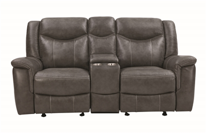 Grey Power Recline Loveseat in Performance Leatherette