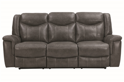 Grey Power Recline Sofa in Performance Leatherette