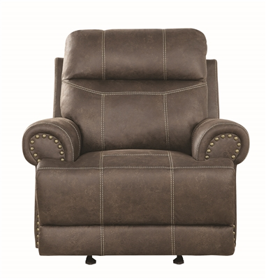 Perryton Brown Performane Suede Glider Recliner