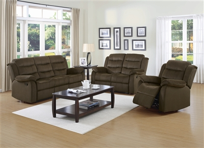 Alicia Brown Velvet Reclining Living Room Group