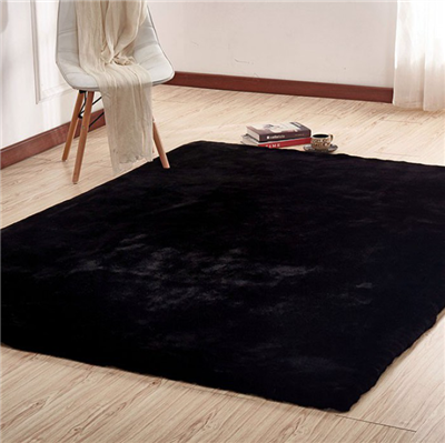 Caparica Faux Chinchilla Area Rug in Black