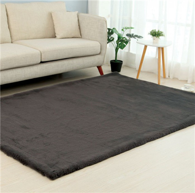 Caparica Faux Chinchilla Area Rug in Charcoal