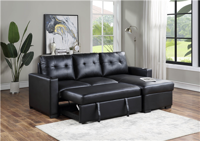 Marx Black Leatherette Sleeper Sectional