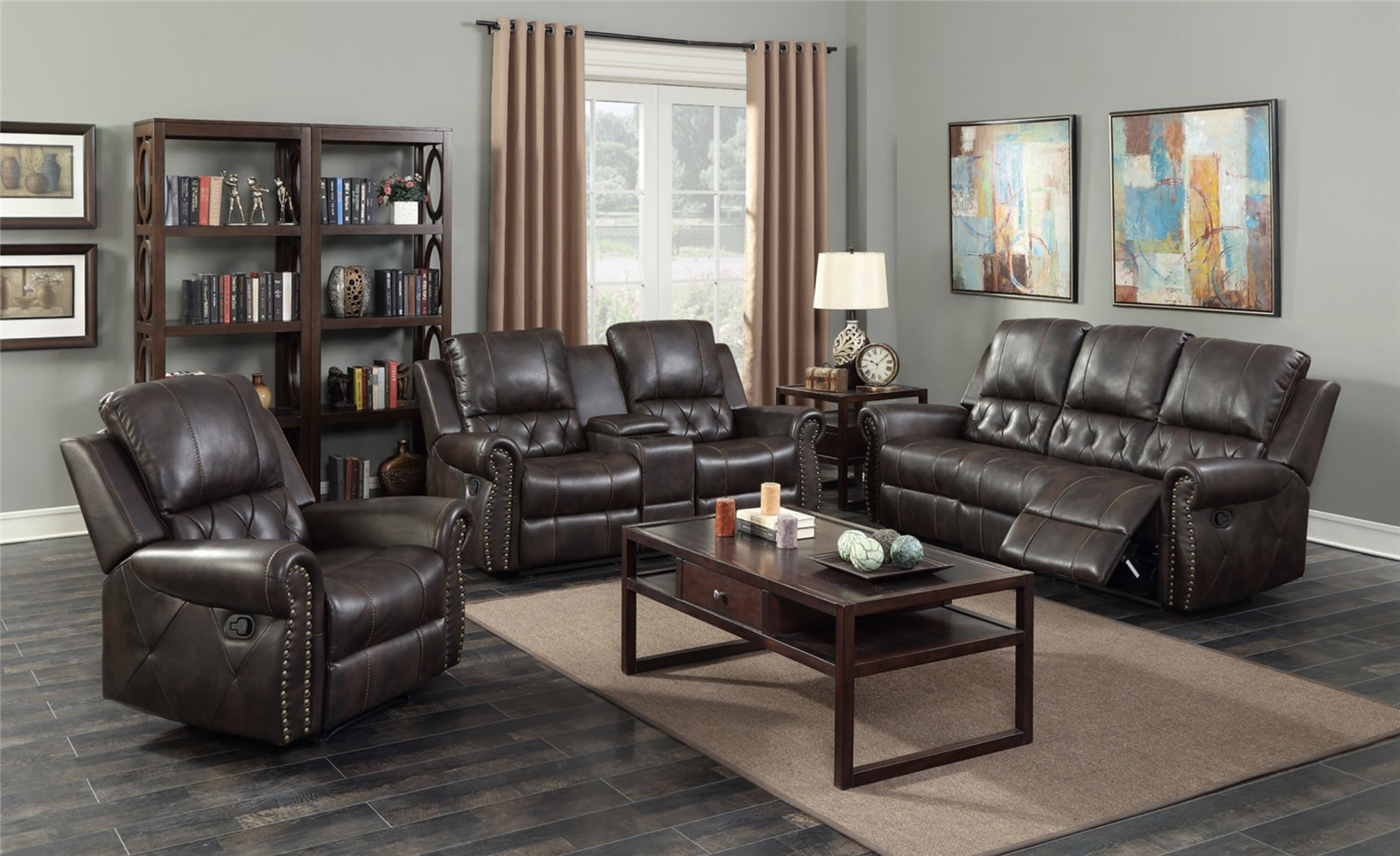 Dark Brown Tufted Leather Air Reclining