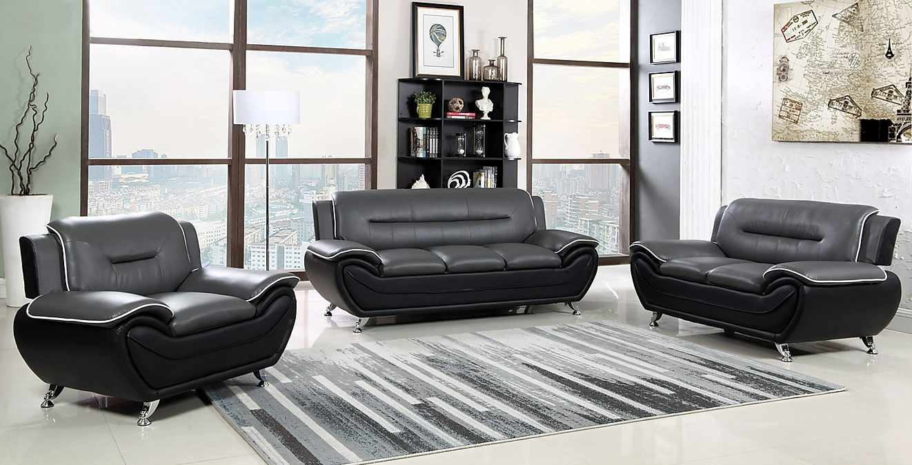 Gray Black Leatherette Sofa Loveseat