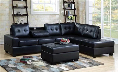 Black Leatherette Sectional with Drop Down Console & Matching Ottoman