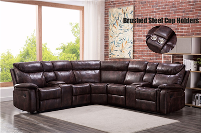 Large Scale Plush Brown Motion Sectional with Dual Consoles
