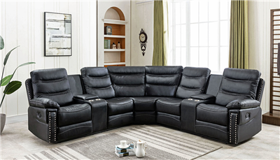Mario Plush Black Motion Sectional - Charmax USA 7784