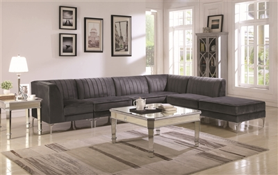 Morgana Dark Gray Velvet Modular Sectional