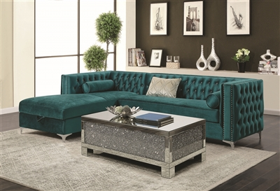 The Nob Hill Teal Color Velvet Sectional