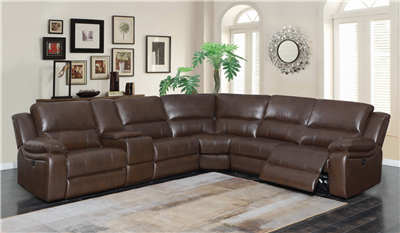 Brown leatherette 6 piece reclining sectional