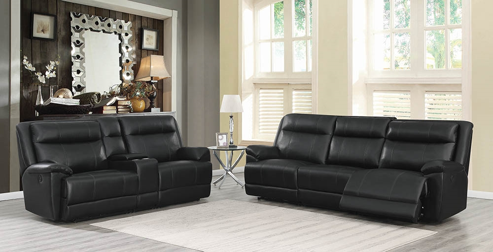 Fine Tatum Ii Black Power Reclining Sofa Loveseat Set Gmtry Best Dining Table And Chair Ideas Images Gmtryco
