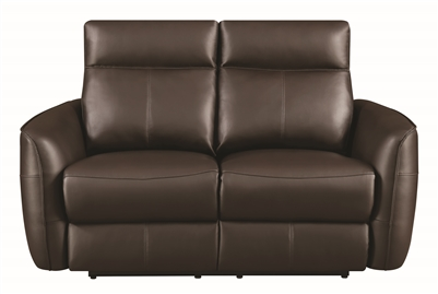 Modern Dark Brown Power Recline Loveseat