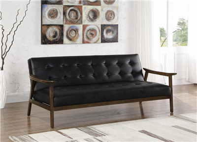 Retro Style Black Leatherette Sofa Bed w/ Exposed Wood Frame