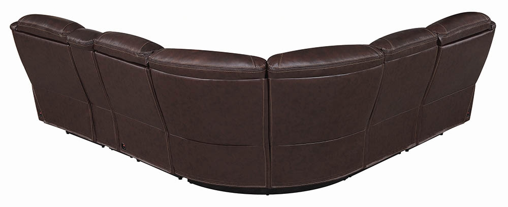 Marvelous Melani Top Grain Leather Wall Hugger Power Reclining Sectional In Brown Andrewgaddart Wooden Chair Designs For Living Room Andrewgaddartcom