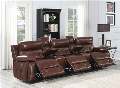 Renita Genuine Leather Power Reclining Sofa w/ Power Headrest
