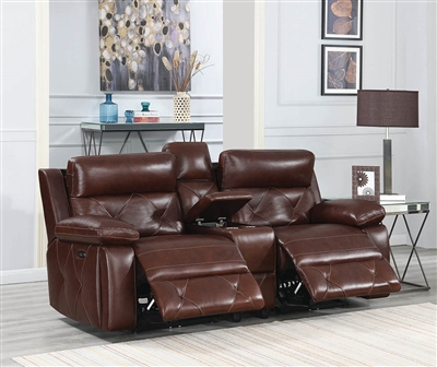 Renita Genuine Leather Power Reclining Loveseat w/ Power Headrest