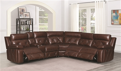 Top Grain Leather Power Reclining Sectional with Power Headrest