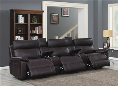 Alain Power Reclining Theater Sofa with Console