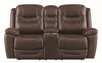 Performance Fabric Upholstered Power Reclining Chocolate Brown Loveseat