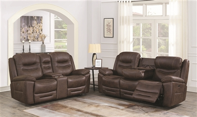 Performance Fabric Upholstered Power Reclining Chocolate Brown Sofa