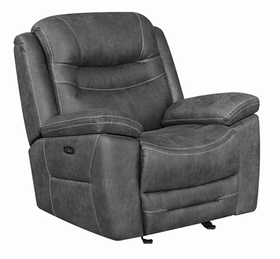 Dark Gray Coated Microfiber Power Reclining Chair