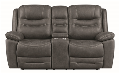 Performance Fabric Upholstered Power Reclining Dark Grey Loveseat