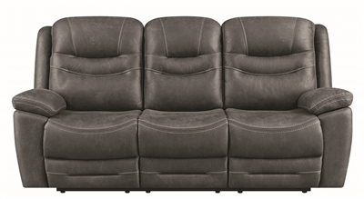Performance Fabric Upholstered Power Reclining Dark Grey Sofa