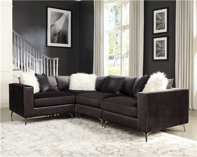 Black Velvet Modular Sectional with Chrome Feet