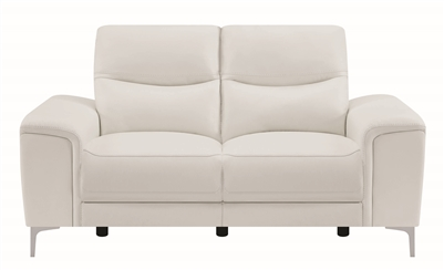 White Top Grain Leather Power Loveseat