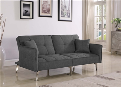 Layna Modern Gray Sofa Bed w/ Chrome Legs