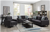 Retro Style Dark Gray Linen Sofa & Loveseat Set