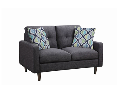 Retro Style Dark Gray Linen Loveseat
