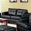 Manuel Contemporary Black Leatherette Loveseat