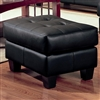 Tufted Black Leatherette Ottoman