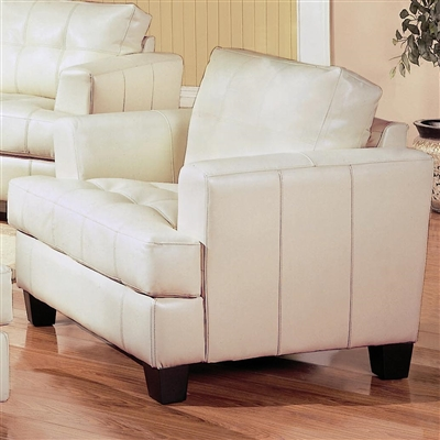 Cream color breathable leatherette upholstered Chair