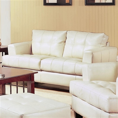 Cream color breathable leatherette upholstered Loveseat