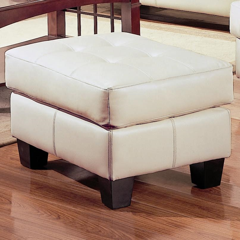 Tufted Cream Leatherette Ottoman