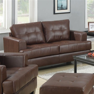 Brown Leatherette Loveseat Group