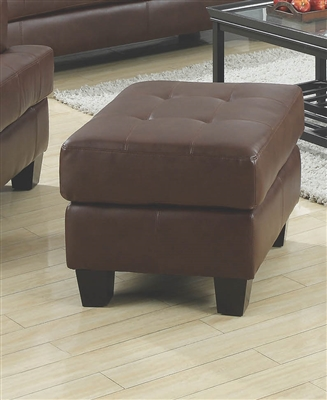 Tufted Brown Leatherette Ottoman