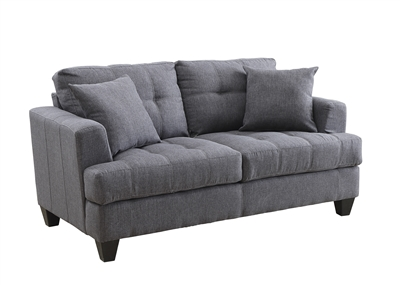 Transitional Style Charcoal Color Linen Upholstered Loveseat