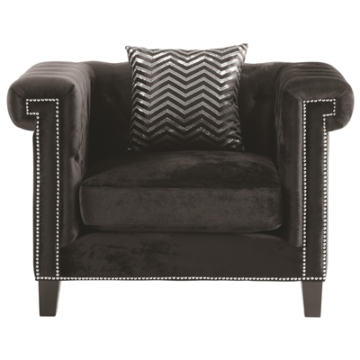 Black Velvet Upholstered Chair with Feather Down Cushions & Silver Nailhead Trim
