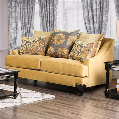 VisContti Retro Style Yellow Velvet Loveseat
