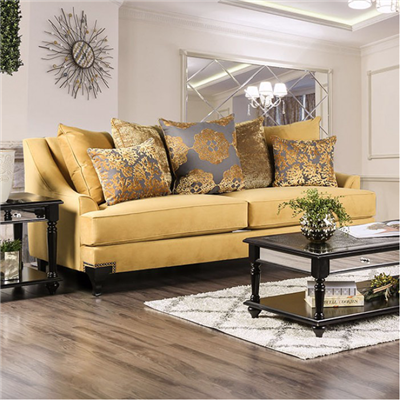 VisContti Retro Style Yellow Velvet Sofa