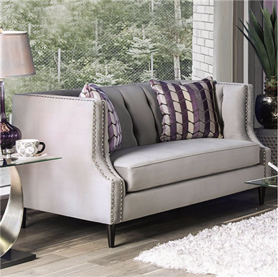 The Tegan Collection Gray Microfiber Loveseat