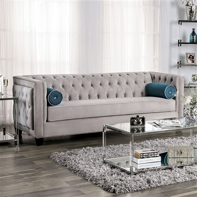 Silvan Warm Grey Velvet Tufted Sofa with Single Bench Seat