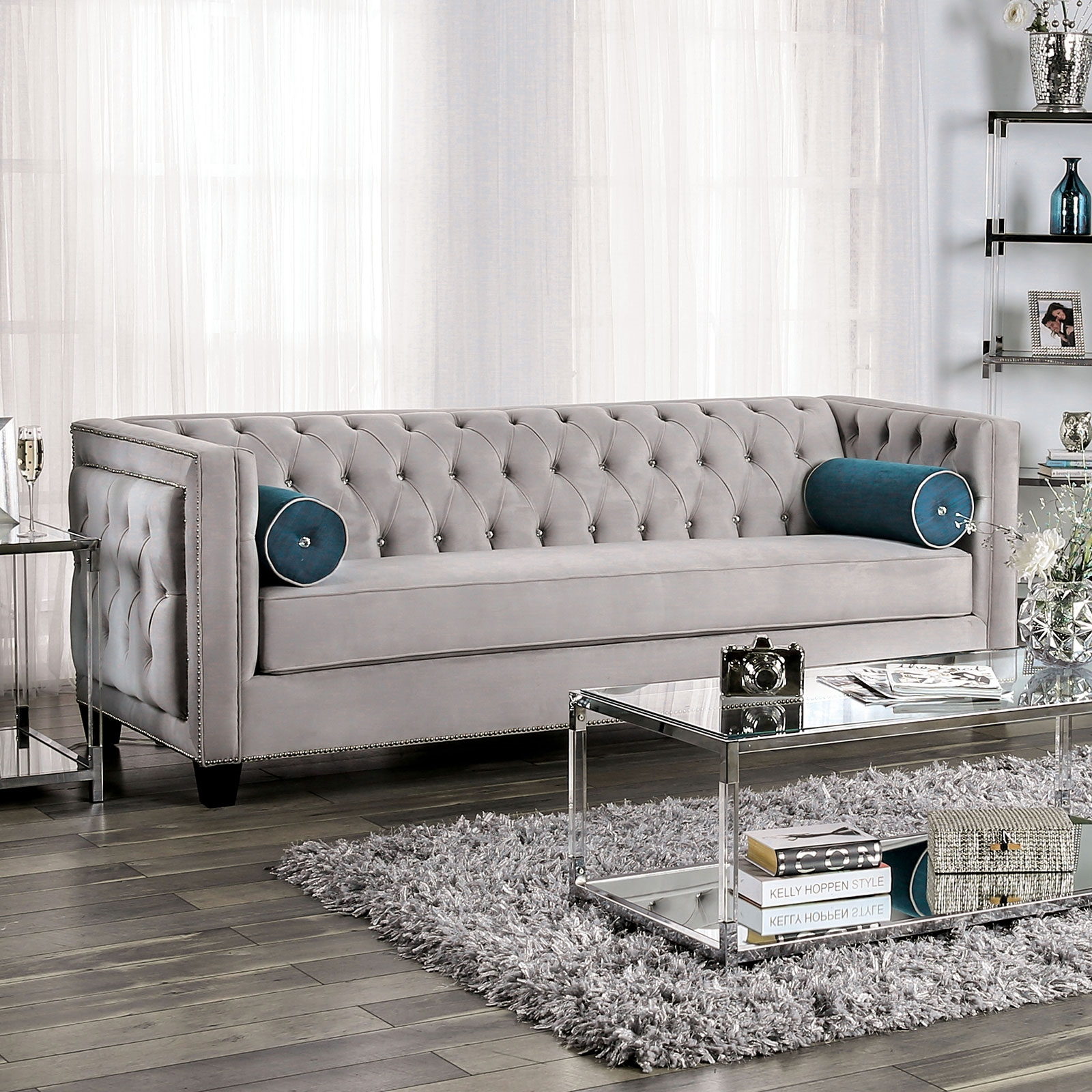 Terrific Silvan Chic Warm Grey Velvet Tufted Sofa With Single Bench Seat Gamerscity Chair Design For Home Gamerscityorg